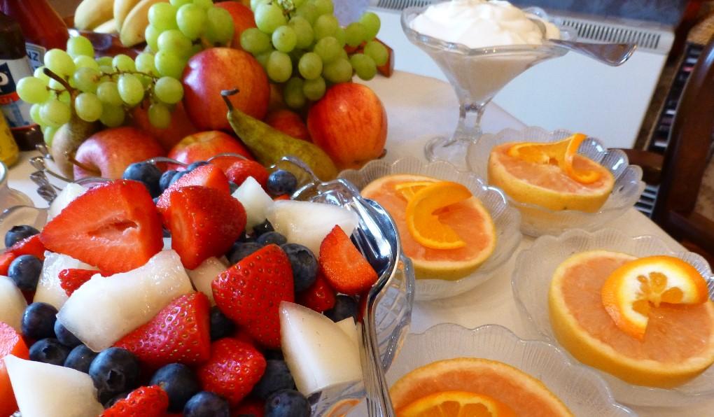 Fresh berries and segmented grapefruit