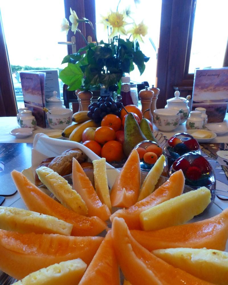 Freshly prepared melon platter